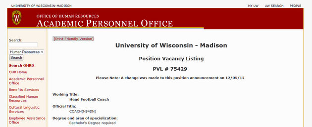 Want to coach Wisconsin? Send your application to UW's human resources!