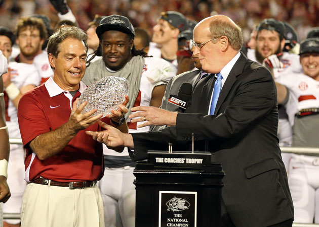 Alabama's schedule will help Nick Saban get a crack at another crystal football. (Matthew Emmons/USA TODAY Sports)
