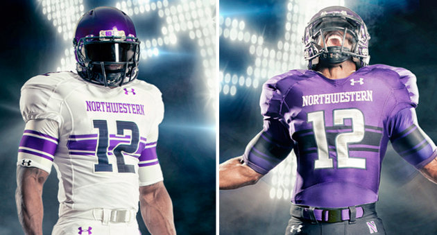 Photos of Northwesterns new uniforms via the school's official athletics site