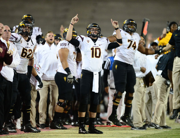 Arizona State's Taylor Kelly looks to celebrate against Stanford. (Mark J. Rebilas/USA TODAY Sports)