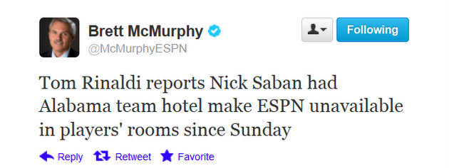 Alabama's Nick Saban reportedly banned ESPN from his players' hotel rooms