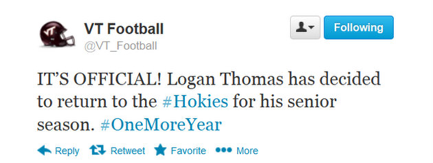 Virginia Tech QB Logan Thomas says he'll return for another year, Hokies fans don't seem thrilled