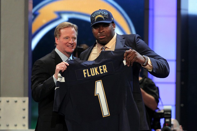 NFL commissioner Roger Goodell and Alabama tackle D.J. Fluker, one of 63 SEC players drafted last week (USA Today Sports Images)