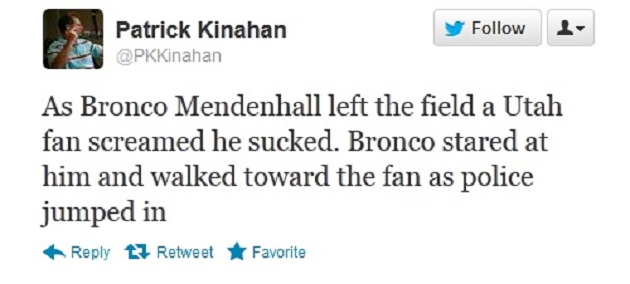 Bronco Mendenhall gets challenged by Utah fan, who cowers away when Mendenhall takes him up on it