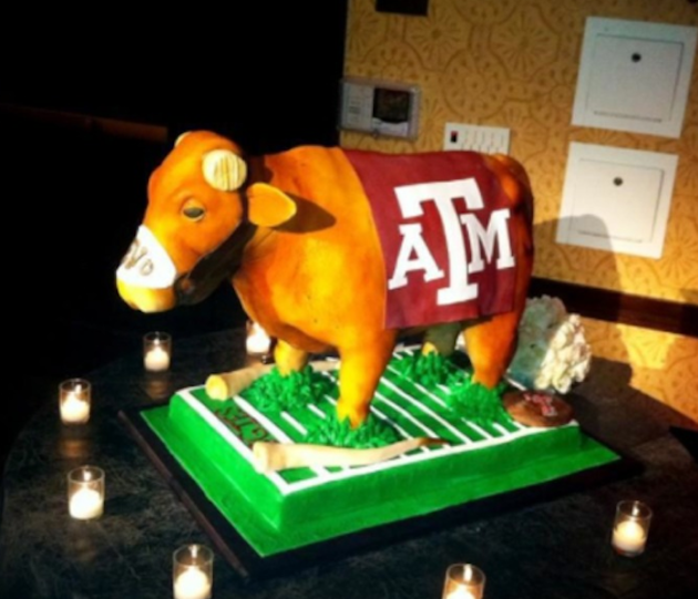 Texas A&M groom's cakes features Bevo with his horns sawed off (PHOTO)