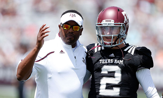Kevin Sumlin and Johnny Manziel at A&M's spring game in April. (Getty Images)