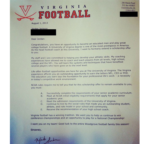 University of Virginia formerly offers prized recruit