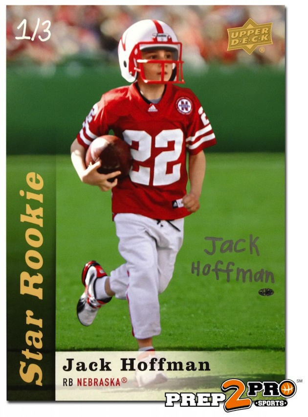 Trading card of 7-year-old Nebraska spring game star, Jack Hoffman, fetches $6,100 on ebay for charity, but the bidder won't pay