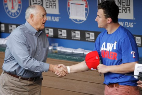 Johnny Football, hanging out with Nolan Ryan (Getty)