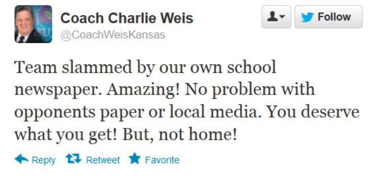 Charlie Weis can't believe KU student paper not supporting his 1-3 team