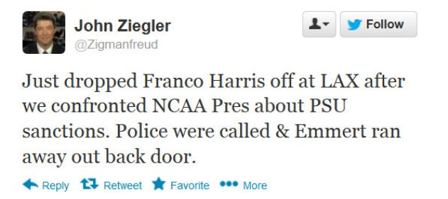 Franco Harris apparently confronts NCAA president Mark Emmert about Penn State sanctions and police are called
