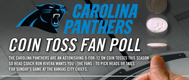 Carolina Panthers wants fans' help in ending winless coin-flip streak
