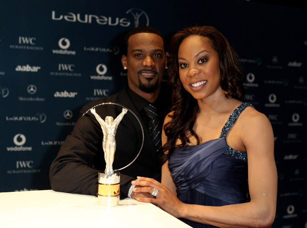 Aaron Ross with his wife, Olympic runner Sanya Richards-Ross