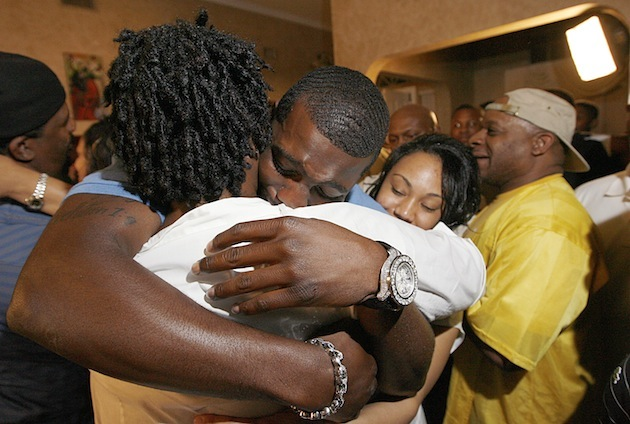 Dez Bryant hugs his mother Angie after being drafted in 2010. (AP file)