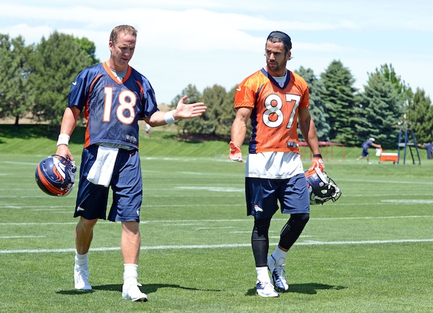 Peyton Manning and Eric Decker have had good chemistry on and off the field. (USA Today)