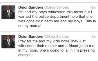 Deion Sanders posted a picture of his sons filling out a police report against their mother