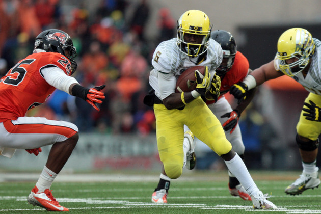 Oregon speedster De'Anthony Thomas is one of many interesting players that could be in the 2014 NFL draft (USA Today Sports Images)