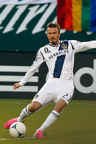 David Beckham, sorta looking like a kicker. (Getty Images)