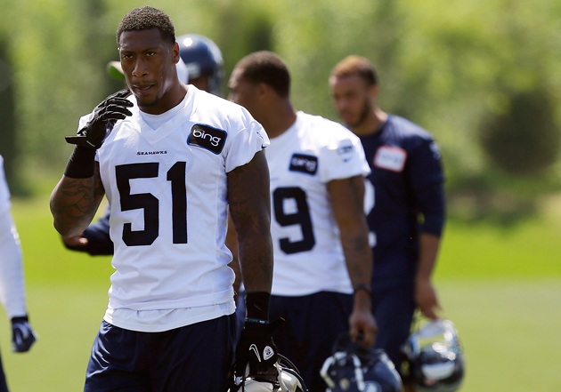 Bruce Irvin leaves the practice field on Monday. (AP)