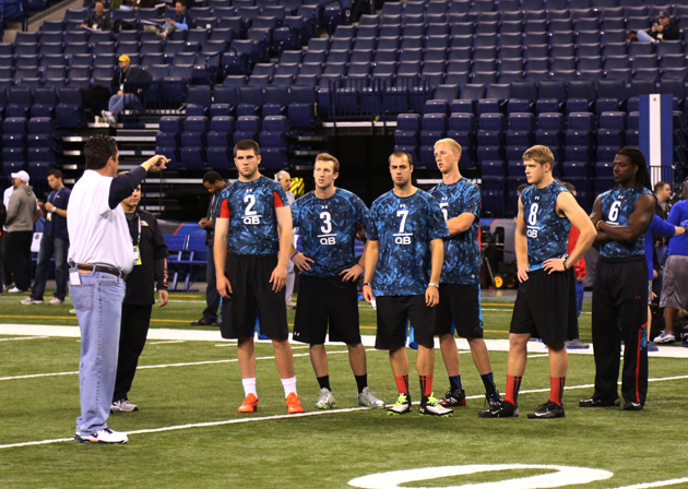 Part of the 2013 QB class, trying to get separation at the scouting combine. (USA Today Sports Images))