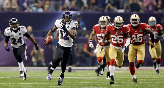 Jacoby Jones starts the second half in fine fashion. (Getty Images)
