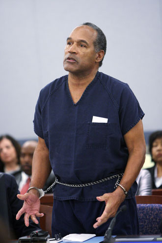 OJ Simpson during his sentencing in 2008. (Getty Images)