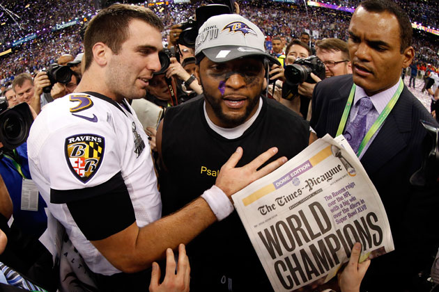Joe Flacco and Ray Lewis. (Getty Images)
