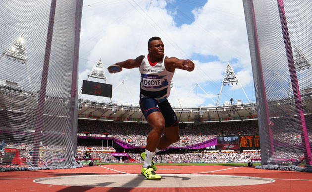 Last summer, Lawrence Okoye was slinging the discus for Great Britain in the Olympics. (Getty Images)