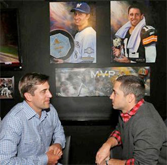 Aaron Rodgers and Ryan Braun at the opening of their restaurant in 2012.