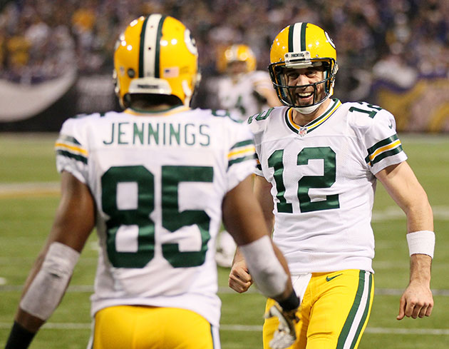 Greg Jennings and Aaron Rodgers in happier days. (Getty Images)