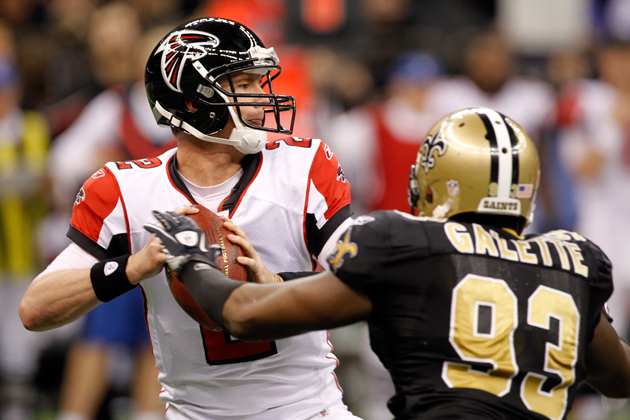 Junior Galette harasses Atlanta Falcons quarterback Matt Ryan. (Getty Images)