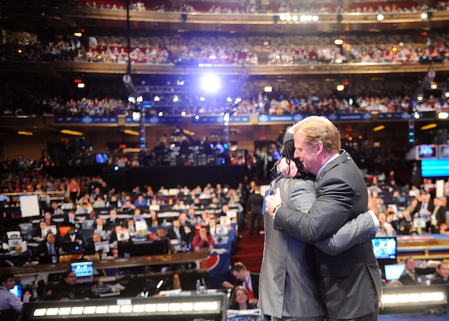 Roger Goodell hugs Ryan Williams during the 2011 NFL draft. (Getty Images)
