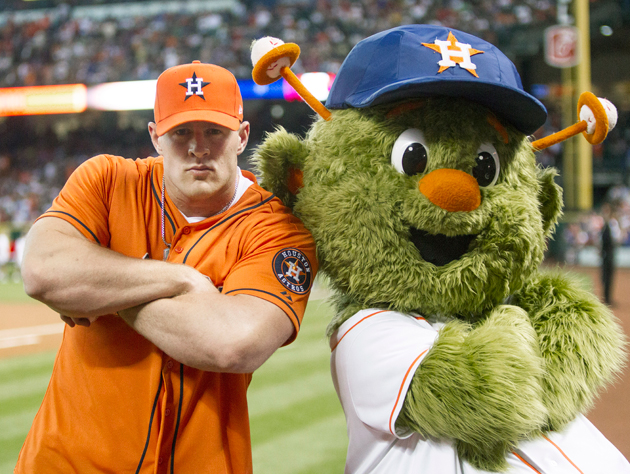 J.J. Watt, looking tough with Orbit, the Houston Astros' mascot. (Getty Images)