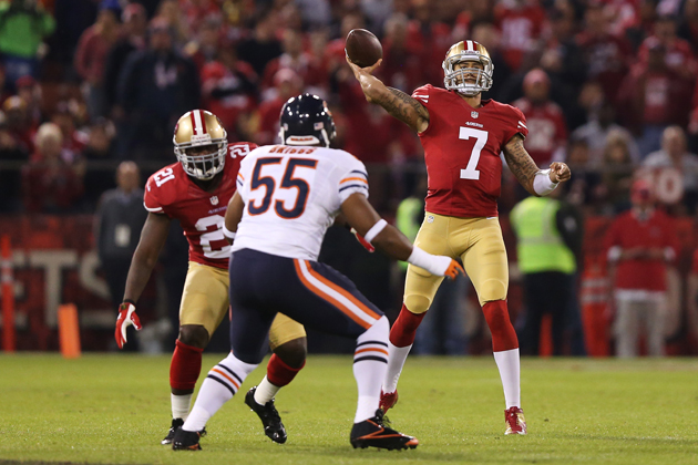 The Bears could not solve Colin Kaepernick. (Getty Images)