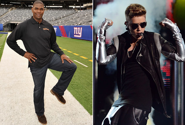 Keyshawn Johnson and Justin Bieber. Johnson is on the left, if you were confused (Getty)