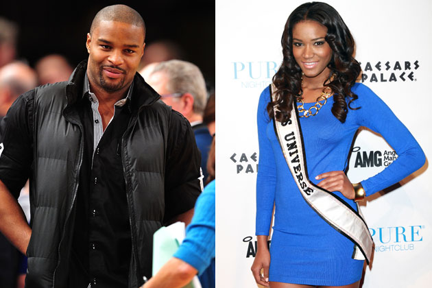 Osi Umenyiora and Leila Lopes (Getty Images)