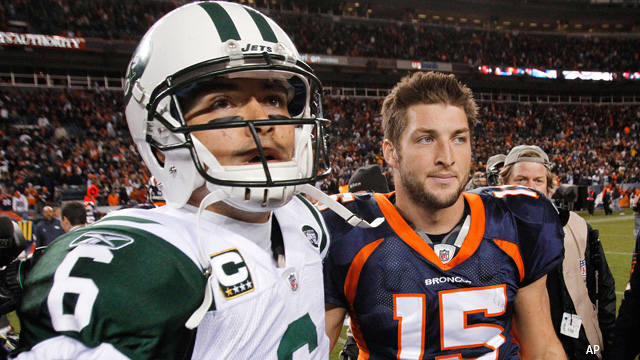 Quarterbacks Mark Sanchez and Tim Tebow