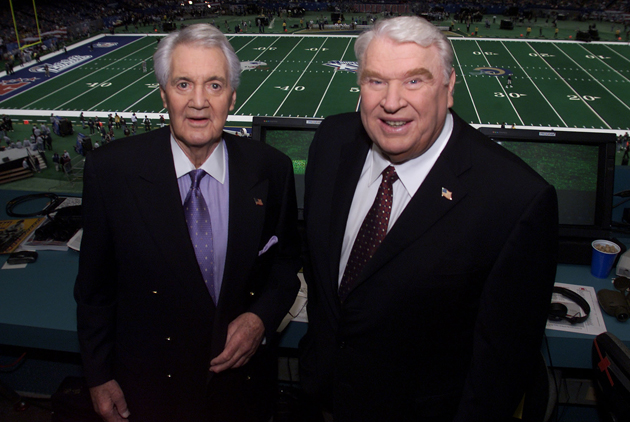 Pat Summerall and John Madden before Super Bowl XXXVI, their last broadcast together, in Feb., 2002. (Getty Images)