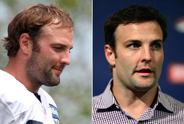 Wes Welker before (left) and after (right) his hair transplant (USA Today Sports Images)