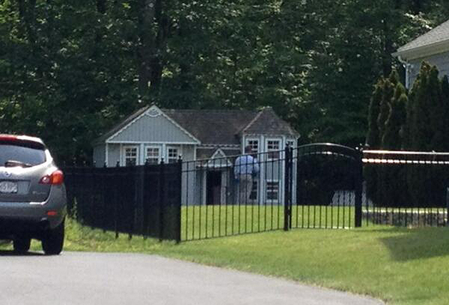 Dog house or doll house? Police searched it anyway (@KevinGArmstrong)