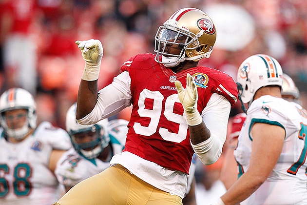 49ers linebacker Aldon Smith celebrates a sack (USA Today Sports Images)