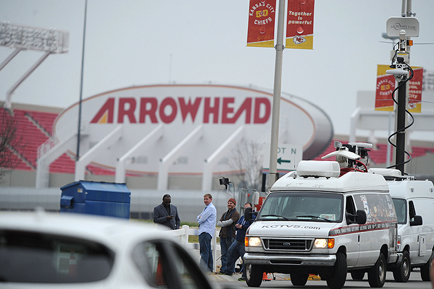 Members of the media gather outside Arrowhead Stadium on Saturday. (US Presswire)