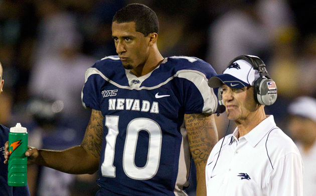 Colin Kaepernick and Chris Ault in 2010. (USAT Sports Images)