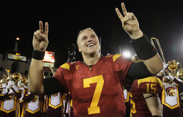 For now, Matt Barkley will have to impress the NFL without throwing. (Getty Images)