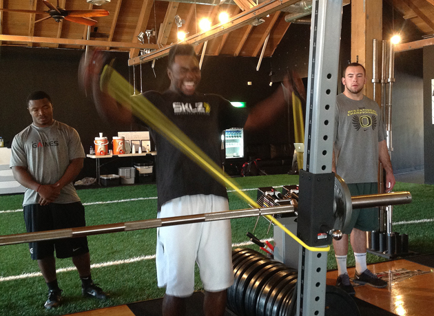 Kenjon Barner gets ripped. (Doug Farrar)