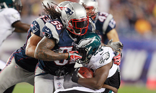 Brandon Spikes leads New England's talented group of young linebackers. (AP)