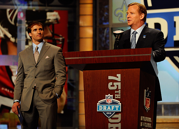 Drew Brees and Roger Goodell at the 2010 NFL Draft. (Getty Images)