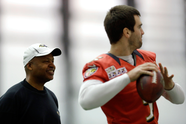 Jim Caldwell and Joe Flacco have developed something special. (AP)