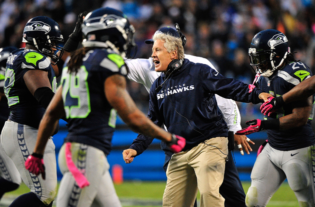 Pete Carroll is definitely fired up about his defense. (Getty Images)