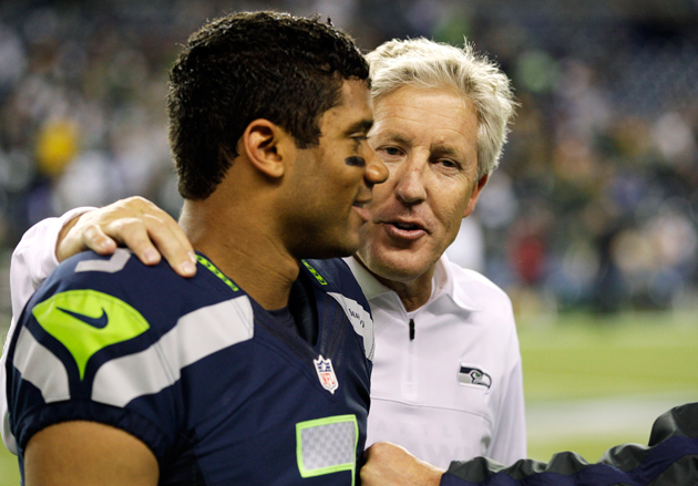 Pete Carroll has learned that he can trust his rookie quarterback implicitly. (AP)